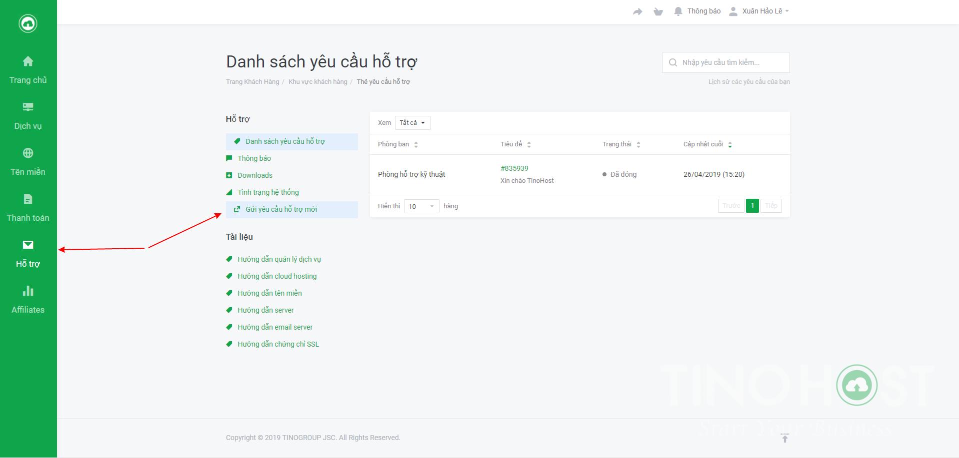 [Client] Hướng dẫn gửi yêu cầu hỗ trợ tại TinoHost 1