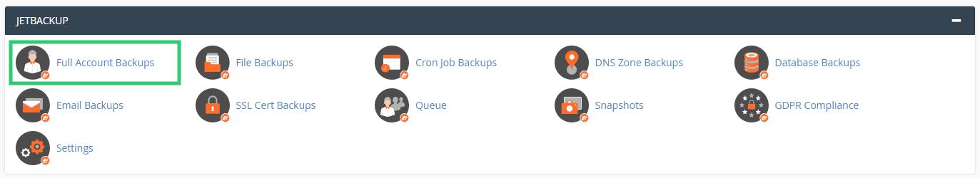 [cPanel] - Khôi phục dữ liệu và sao lưu dữ liệu với JetBackup 8