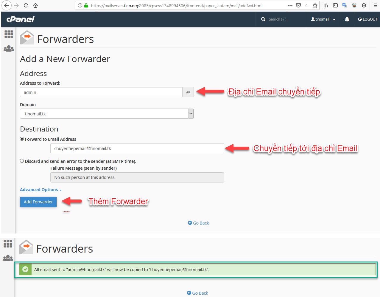 Hướng dẫn sử dụng chức năng Forwarders (Chuyển tiếp) trên Email Hosting 7