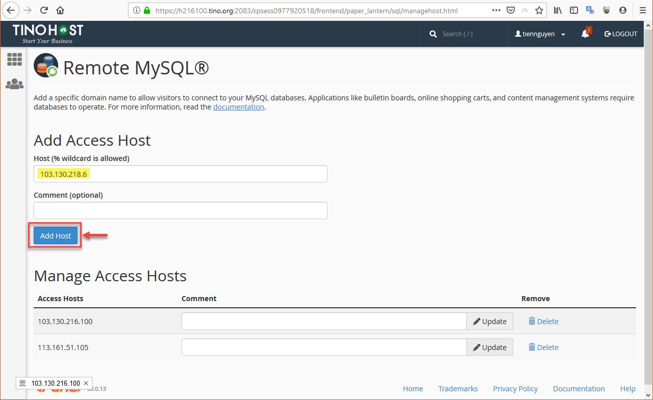 [cPanel] - Hướng dẫn sử dụng chức năng Remote MySQL® trên Hosting cPanel 14