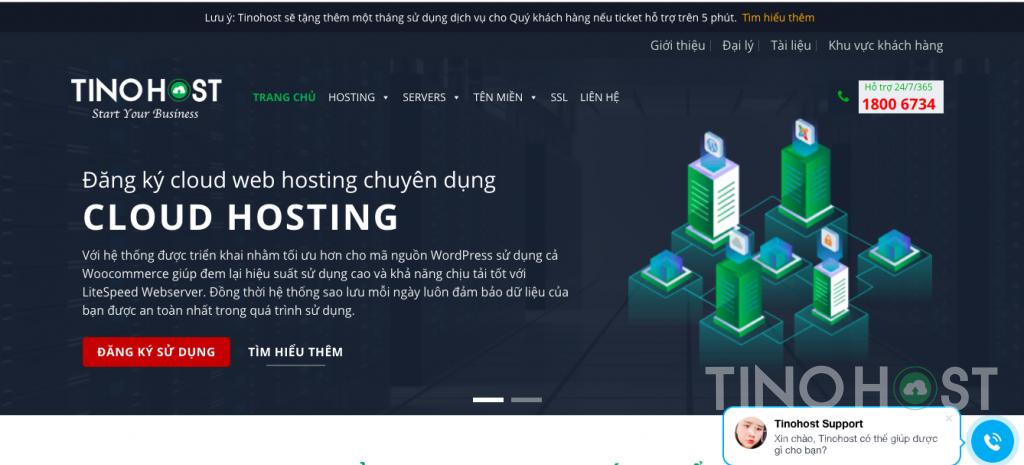 Giao diện Cloud hosting của TinoHost