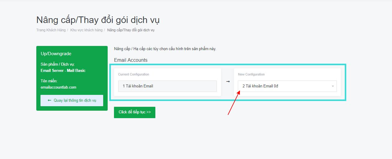 Hướng dẫn nâng cấp / mua thêm email doanh nghiệp tại TinoHost. 6