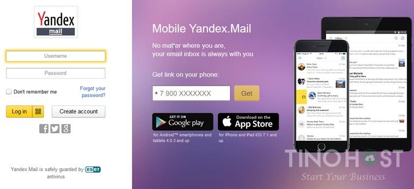 Giao diện Yandex