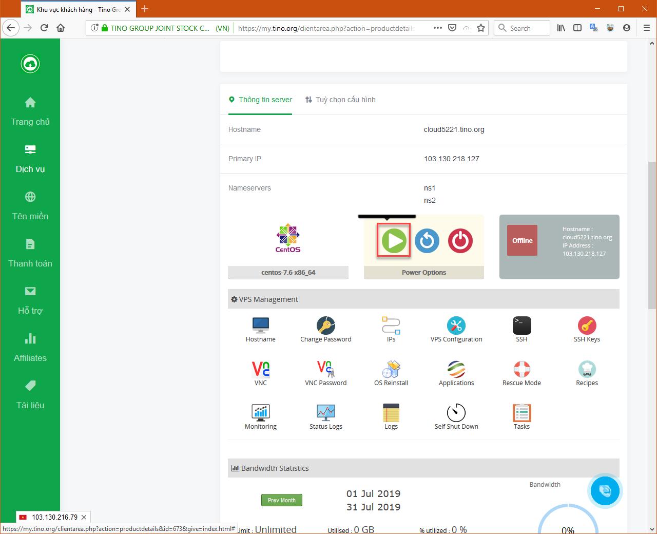 Hướng dẫn nâng cấp Cloud VPS tại TinoHost 25