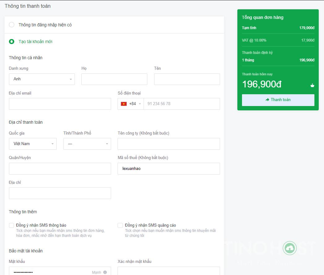 Hướng dẫn đăng ký dùng thử VPS miễn phí local Việt Nam của TinoHost 6