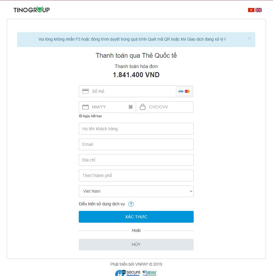 Hướng dẫn nạp tiền vào tài khoản quản lý tại TinoHost. 30