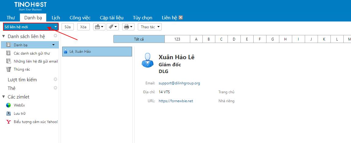 [Zimbra] Hướng dẫn thêm danh bạ trong trình quản lý Email. 5