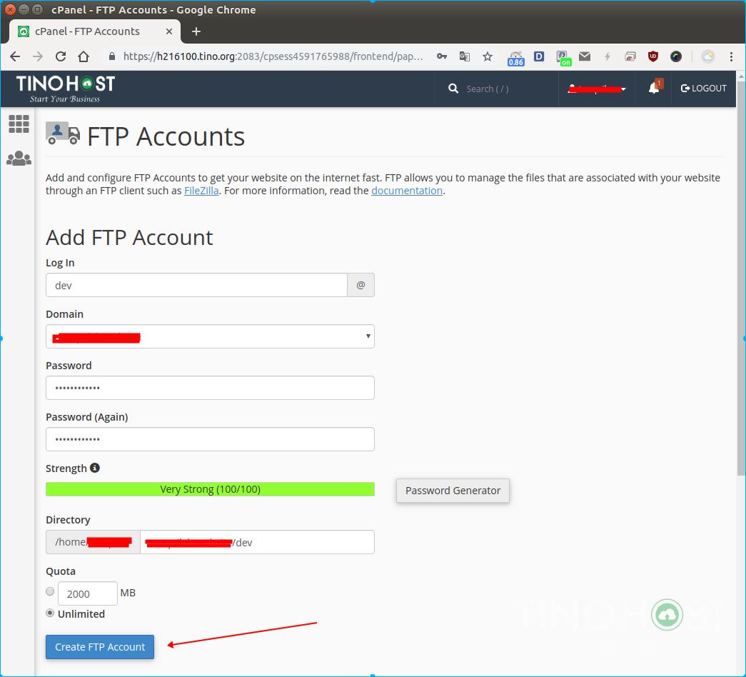 Hướng dẫn tạo tài khoản FTP trên hệ thống TinoHost 4