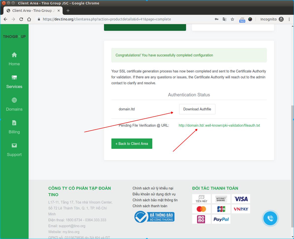 Hướng dẫn xác minh và nhận chứng chỉ SLL có phí(DV SSL) 14