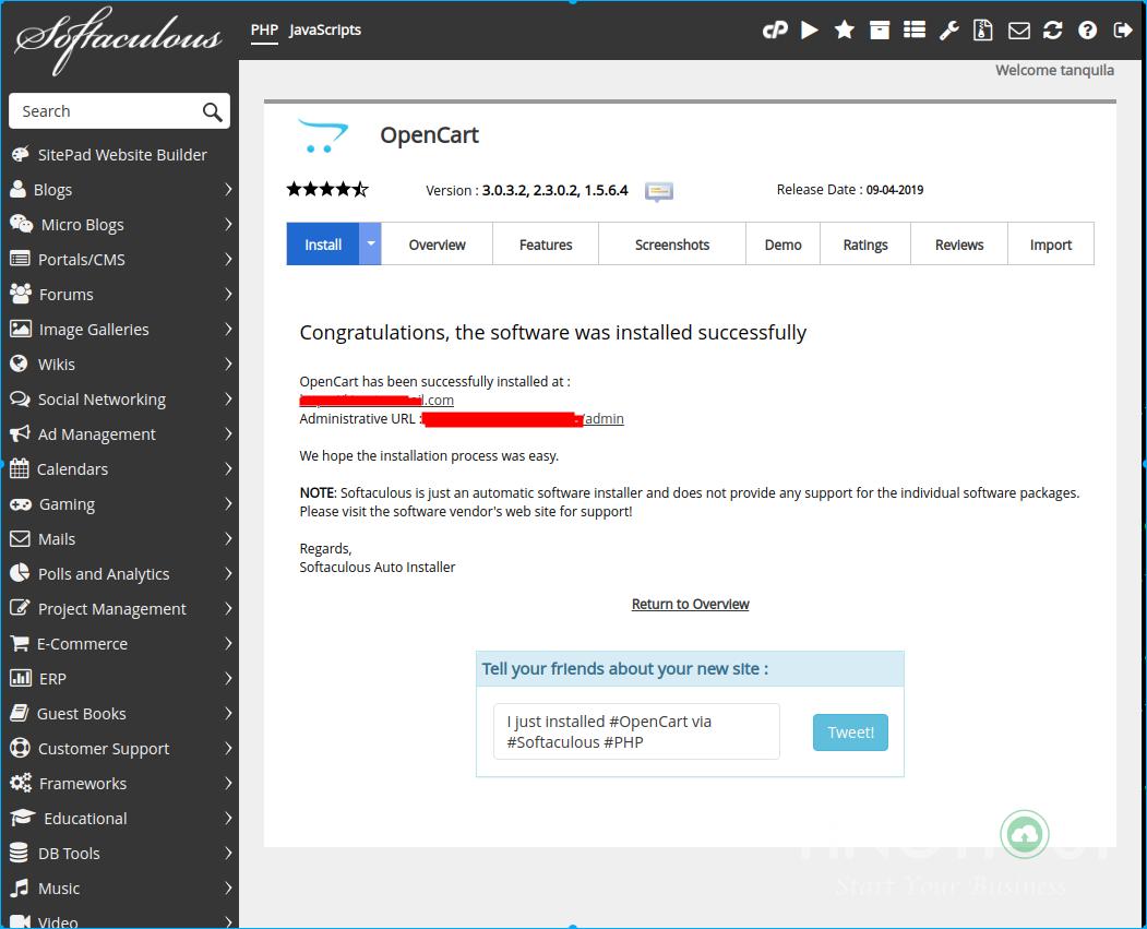 Hướng dẫn cài đặt OpenCart trên hosting cPanel 13