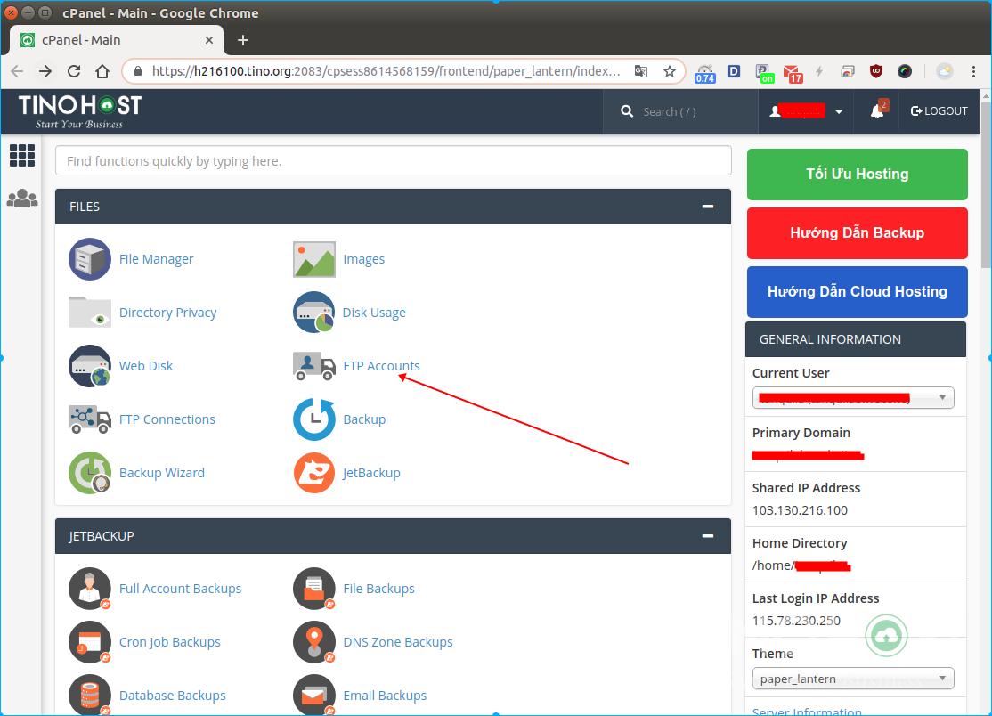 Hướng dẫn tạo tài khoản FTP trên hệ thống TinoHost 3