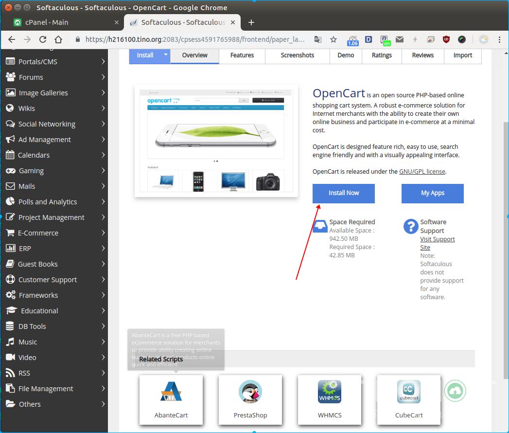 Hướng dẫn cài đặt OpenCart trên hosting cPanel 10