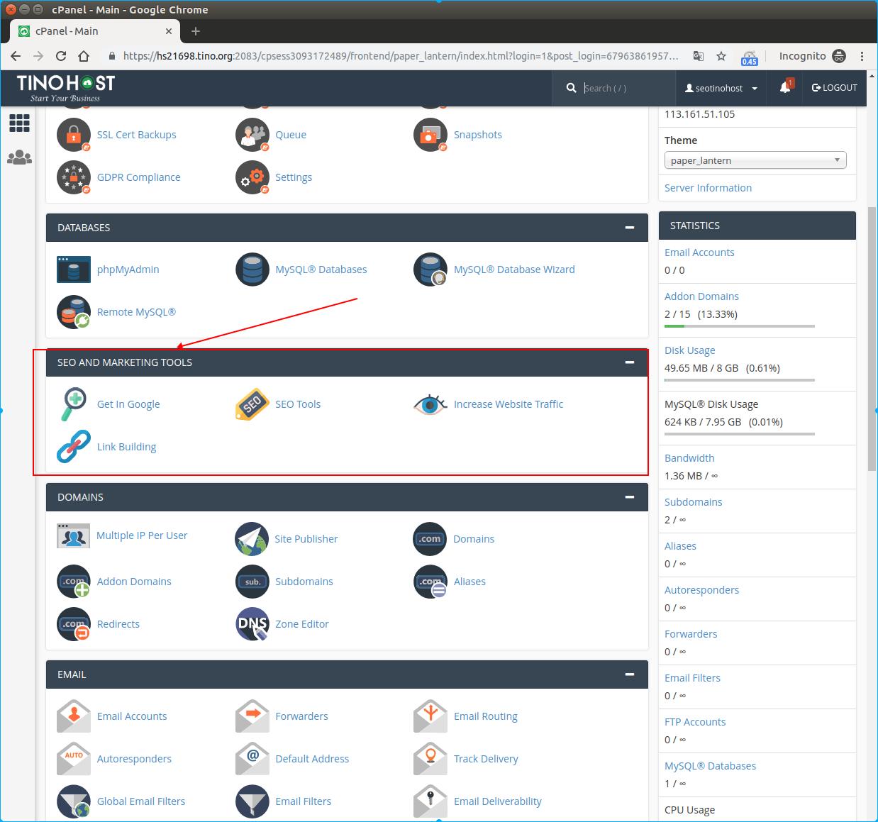 Giới thiệu tính năng SEO AND MARKETING TOOLS trên gói dịch vụ SEO hosting 6