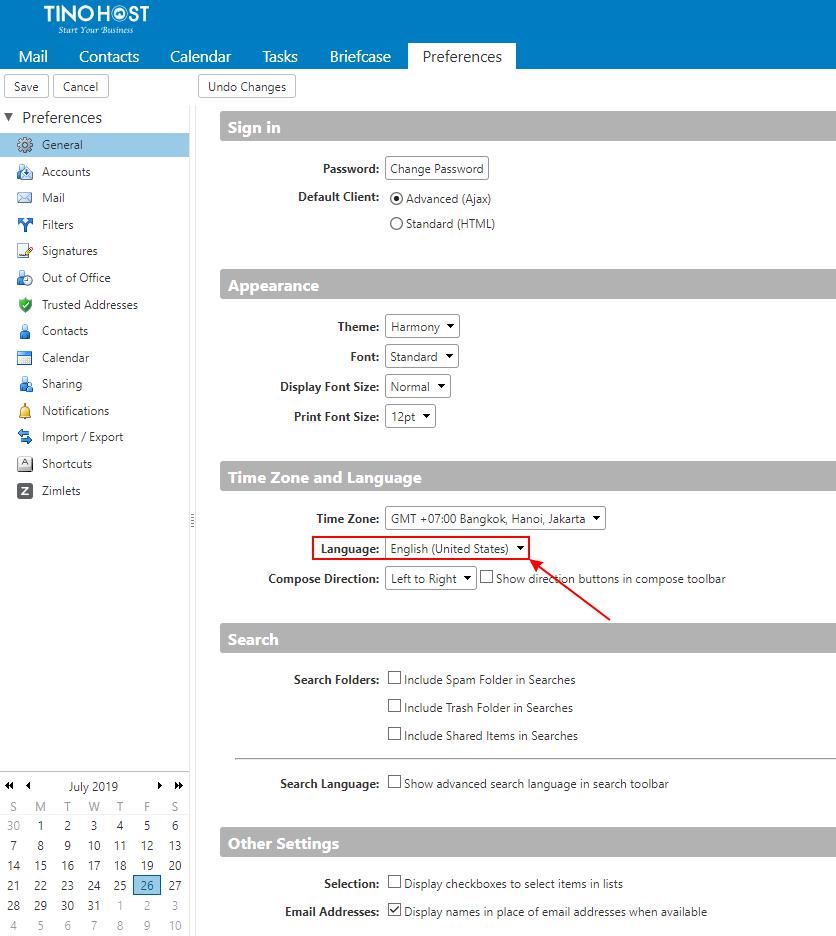 [Zimbra] Hướng dẫn đăng nhập hệ thống mail trên TinoHost và chuyển đổi ngôn ngữ Tiếng Việt 5