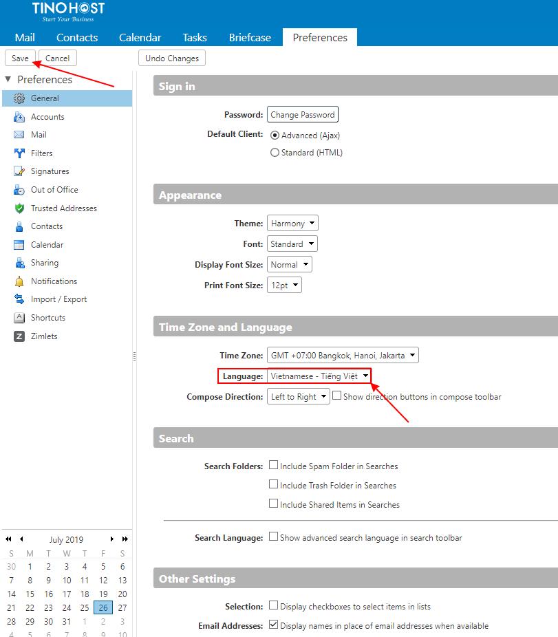 [Zimbra] Hướng dẫn đăng nhập hệ thống mail trên TinoHost và chuyển đổi ngôn ngữ Tiếng Việt 8