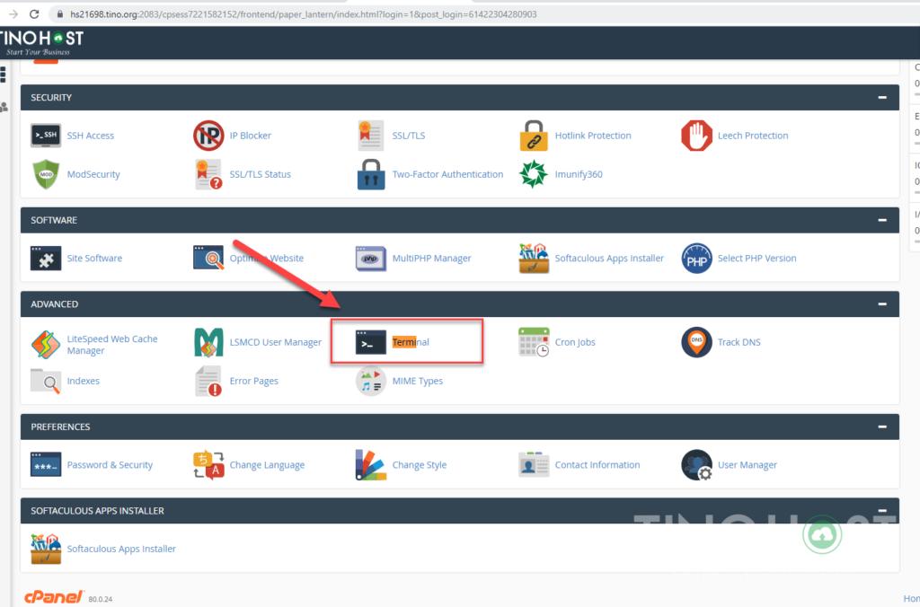 Hướng dẫn SSH trên Share Cloud Hosting sử dụng Terminal 3