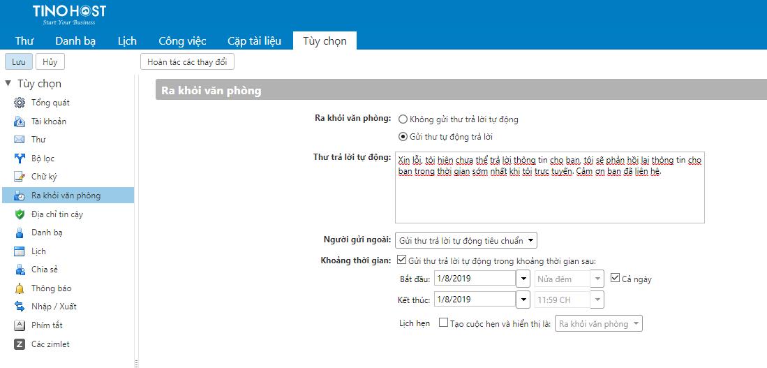 [Zimbra] Hướng dẫn cài đặt gửi Mail tự động khi không trong giờ làm việc 2