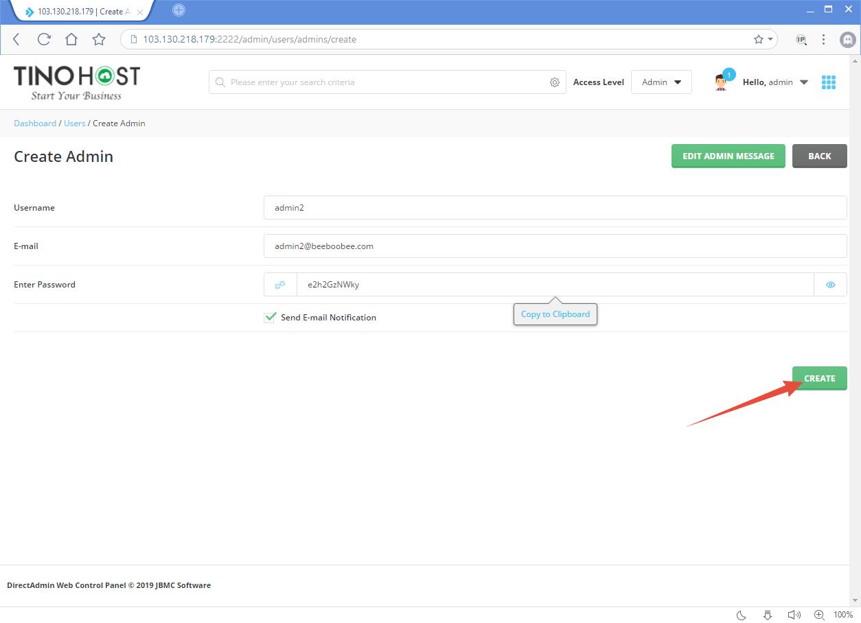 Hướng dẫn tạo tài khoản Admin trên Direct Admin 11