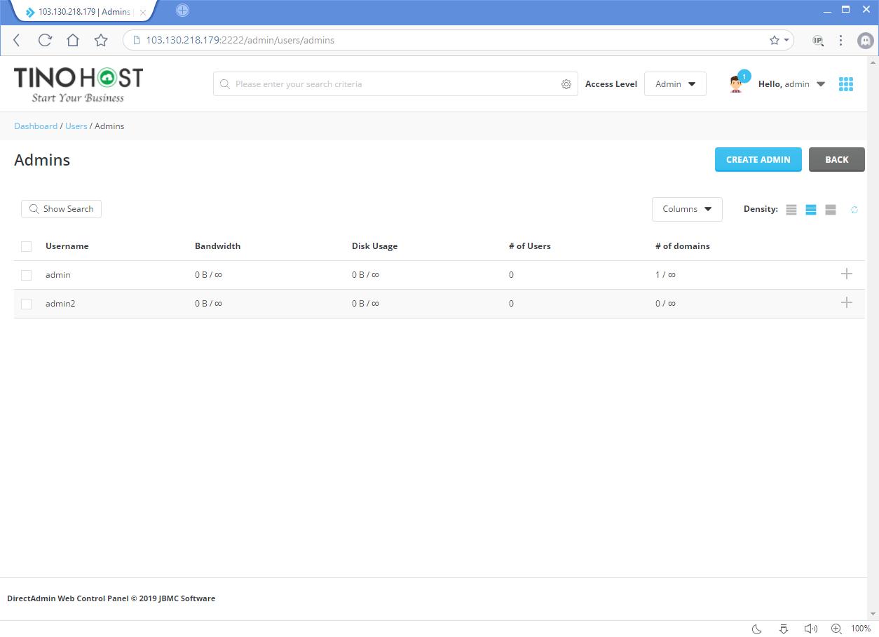 Hướng dẫn tạo tài khoản Admin trên Direct Admin 14