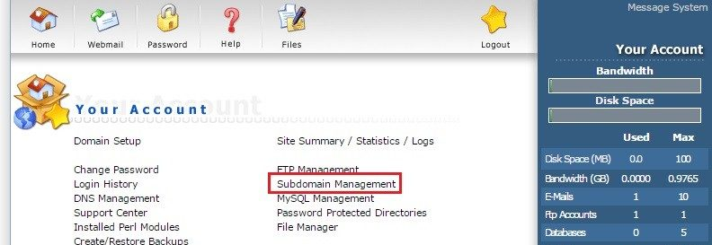 Tạo Subdomain trong Direct Admin 5