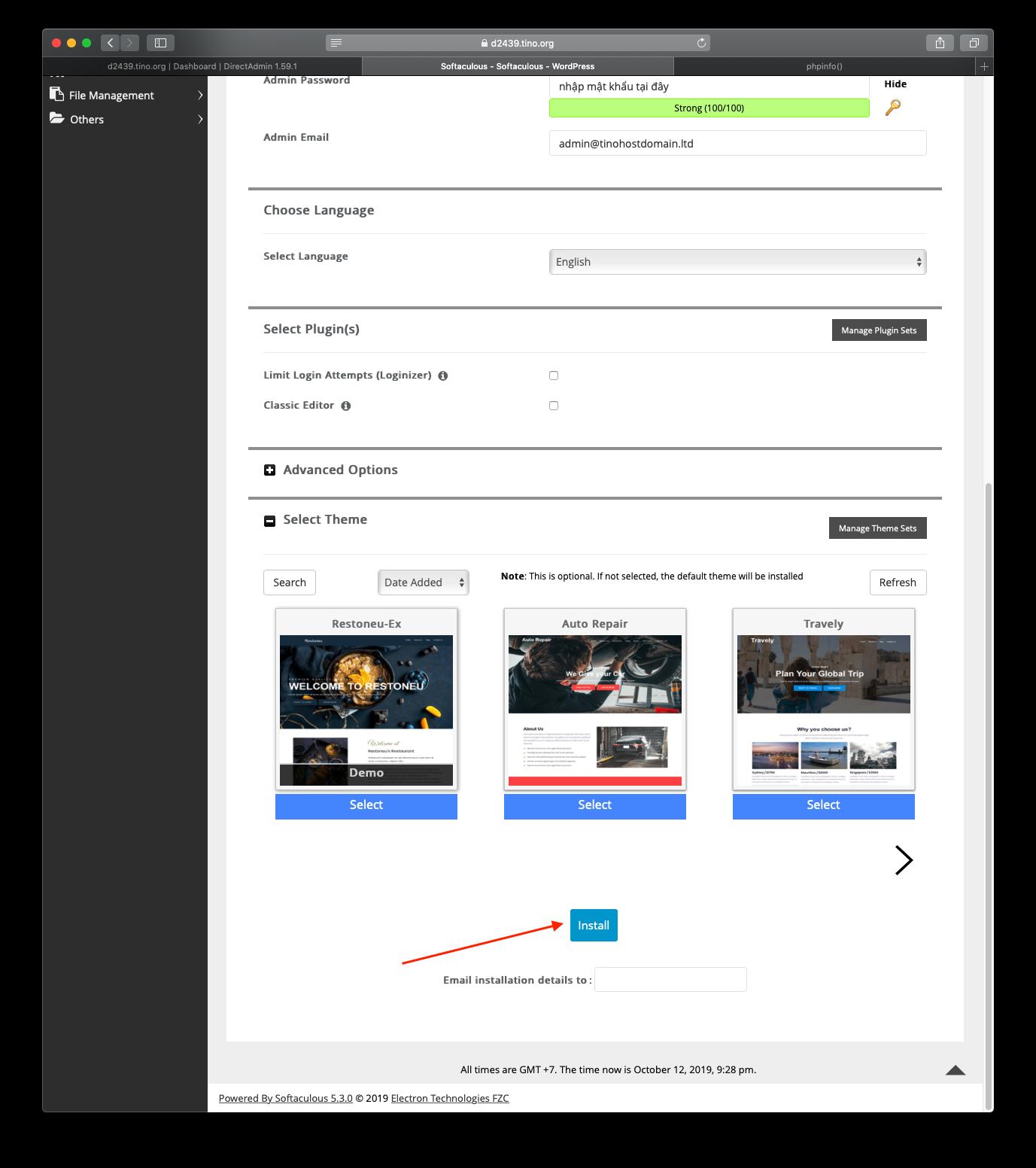 [DirectAdmin] - Hướng dẫn cài đặt Wordpress nhanh chóng trên hosting Directadmin 14