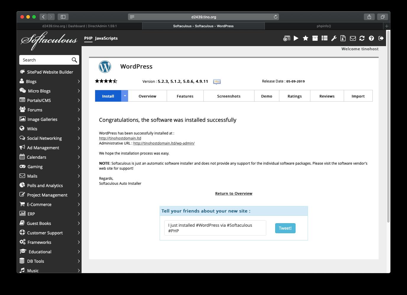 [DirectAdmin] - Hướng dẫn cài đặt Wordpress nhanh chóng trên hosting Directadmin 15