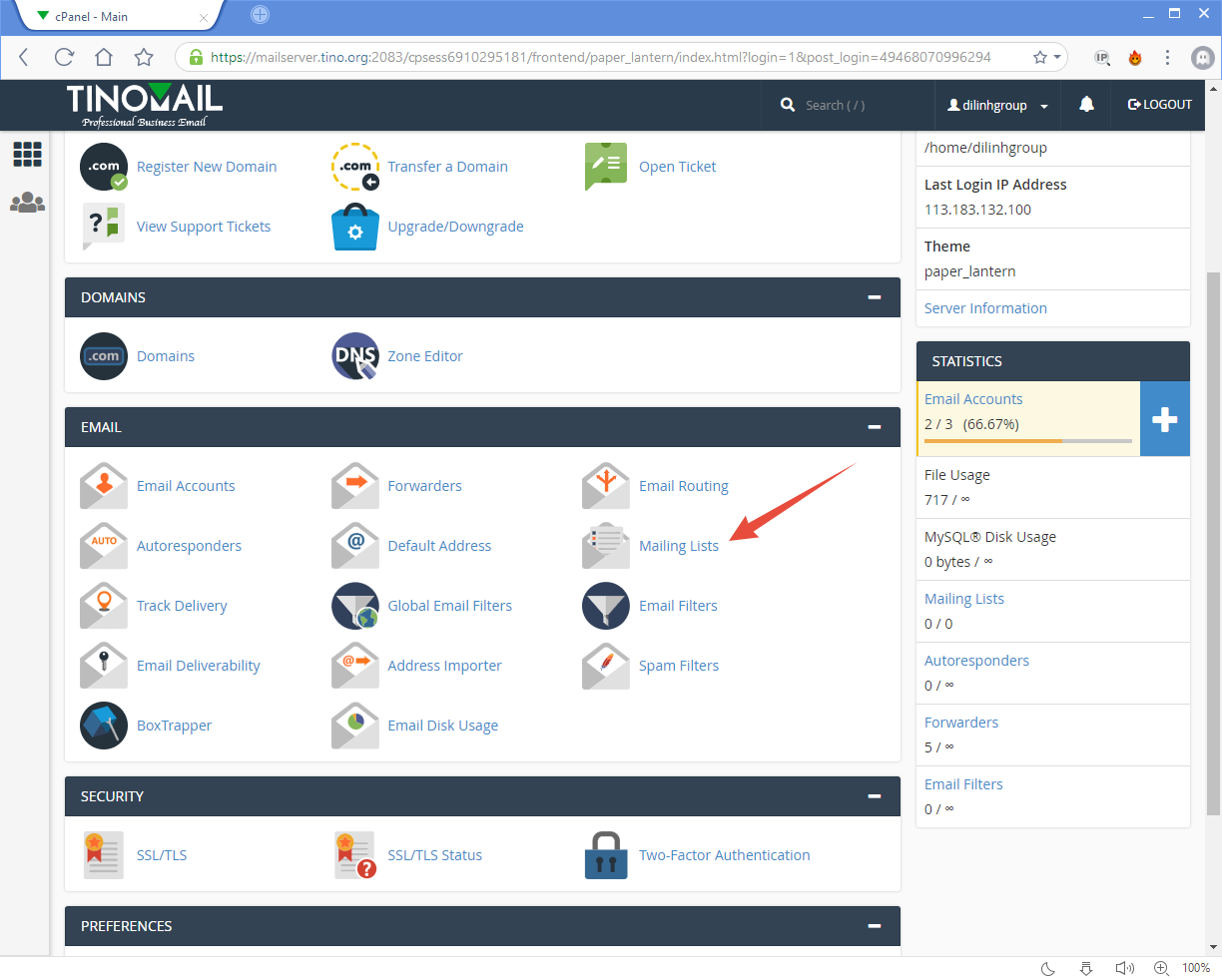 [cPanel] - Mailing Lists 14