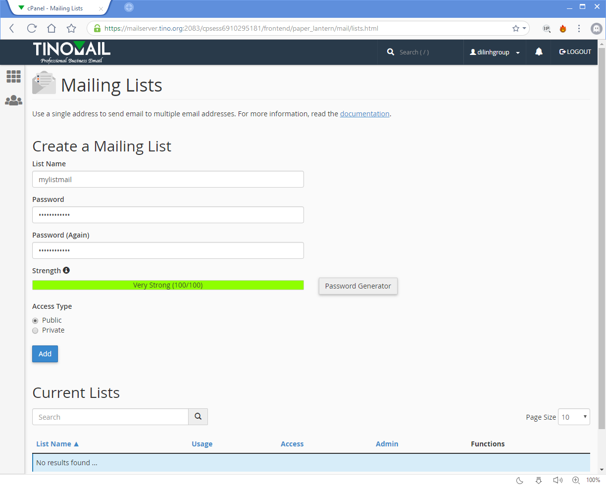 [cPanel] - Mailing Lists 15