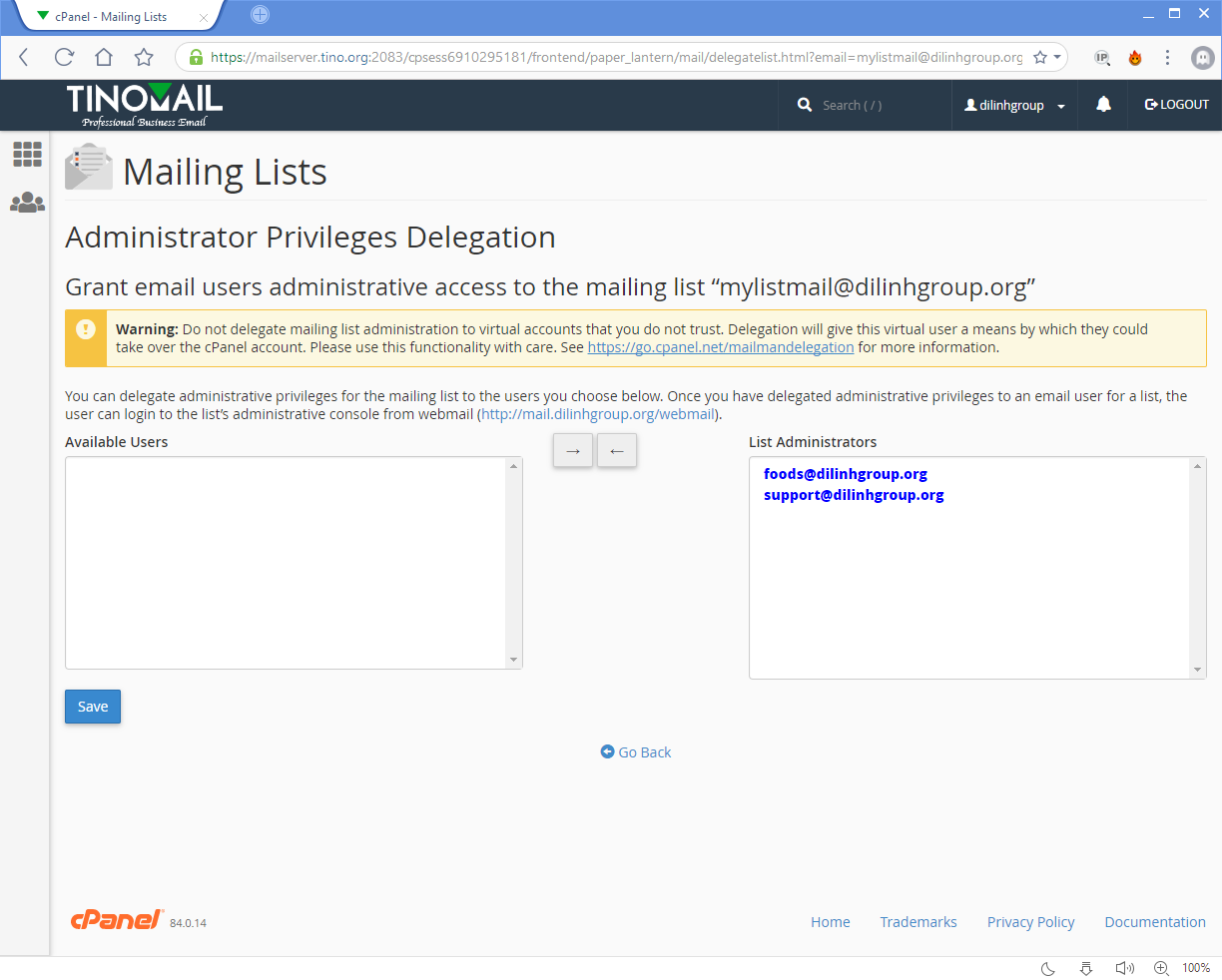 [cPanel] - Mailing Lists 22