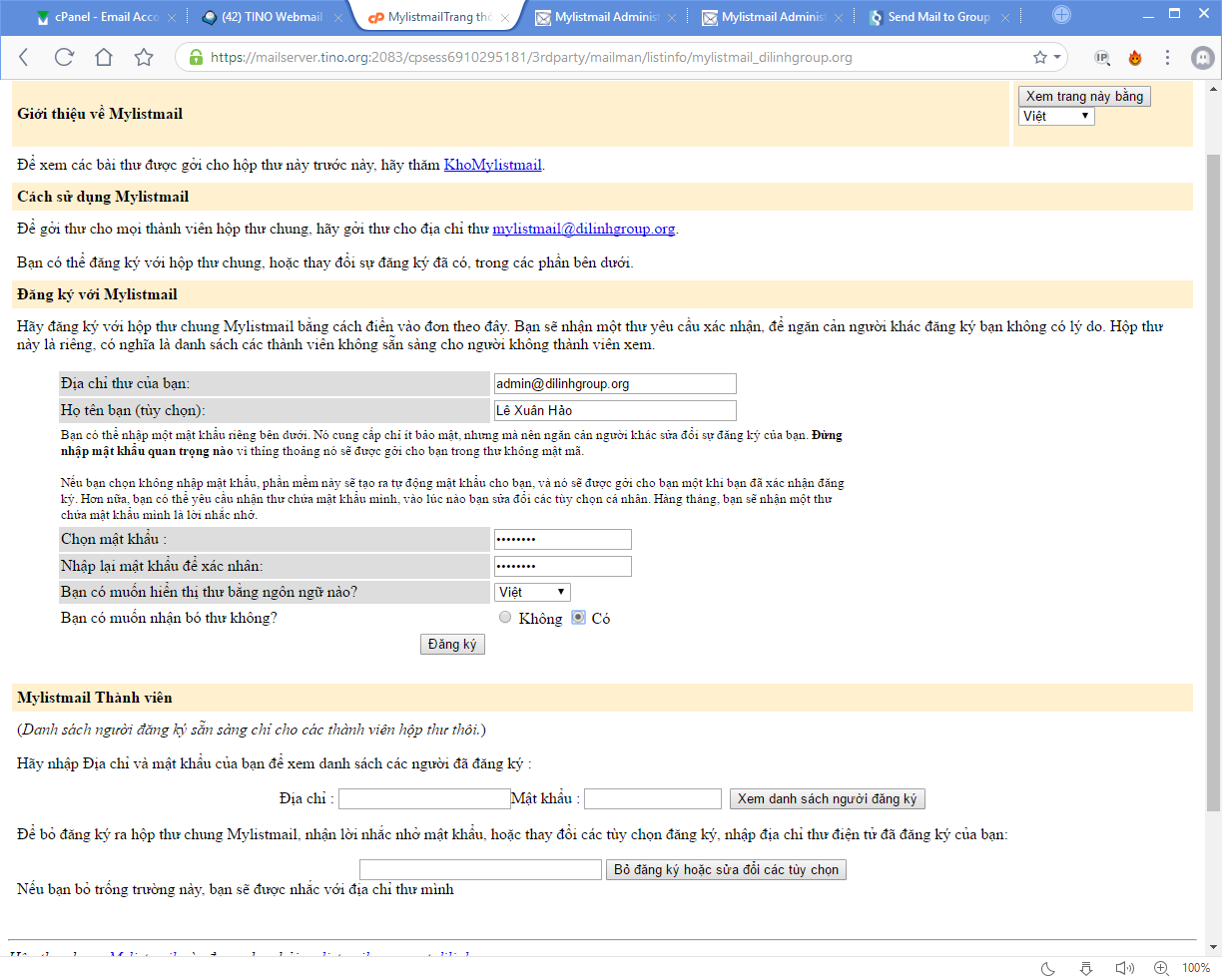 [cPanel] - Mailing Lists 24