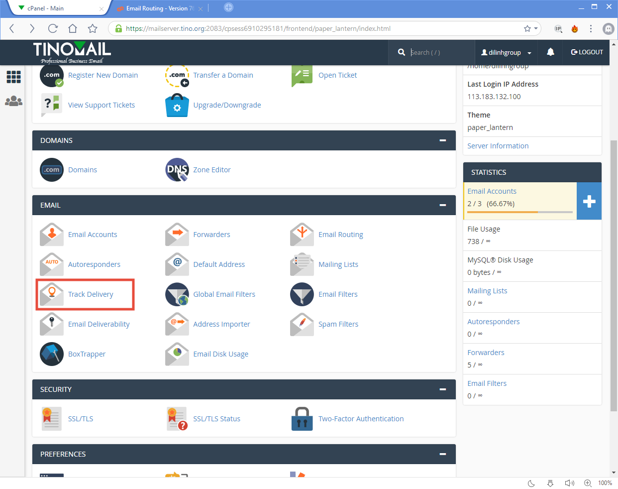 [cPanel] - Track Delivery 3