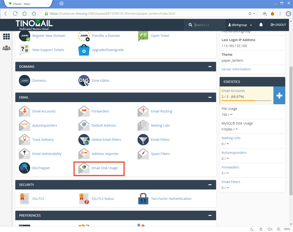 [cPanel] - Email Disk Usage 3