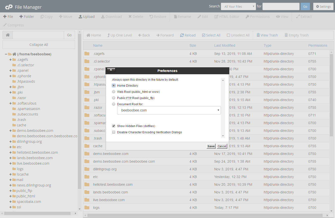 [cPanel] - Các thao tác sử dụng trong File Manager 6