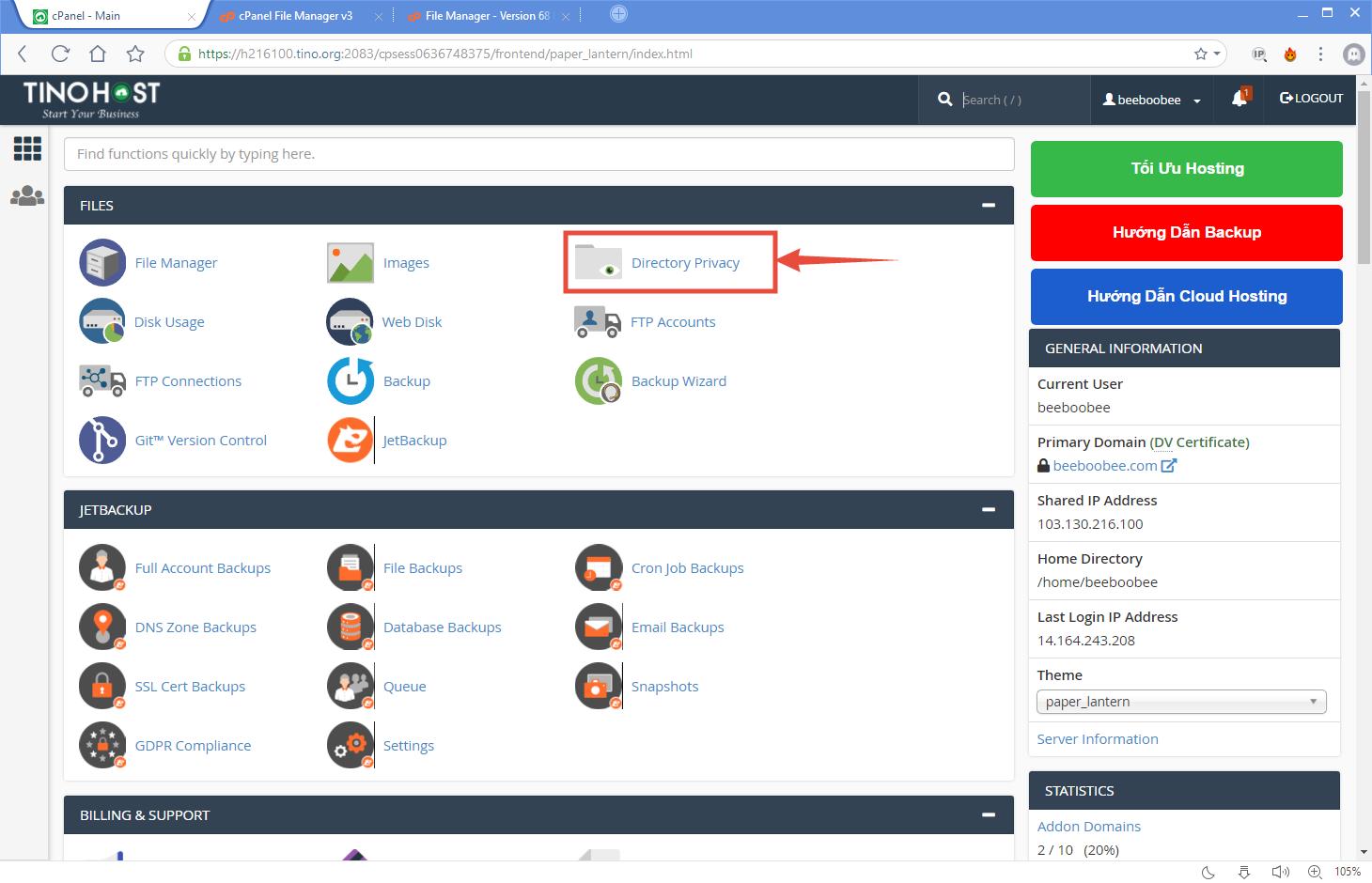 [cPanel] - Đặt mật khẩu bảo vệ thư mục với Directory Privacy 4