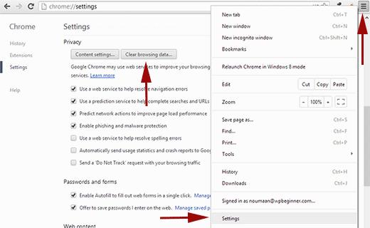 Xóa cookie và bộ nhớ cache trong Google Chrome