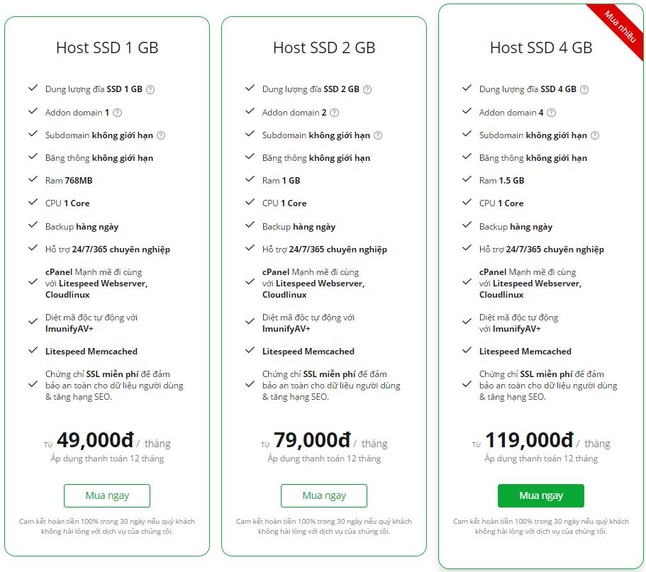 Các gói hosting tại TinoHost