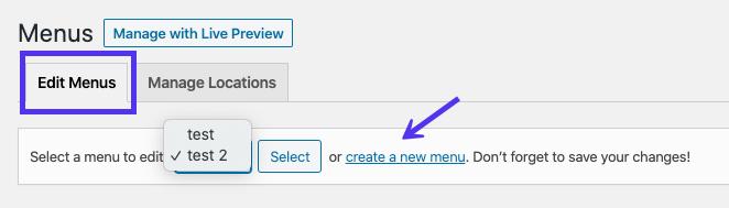 Tạo liên kết menu mới ở đầu trình chỉnh sửa menu WordPress