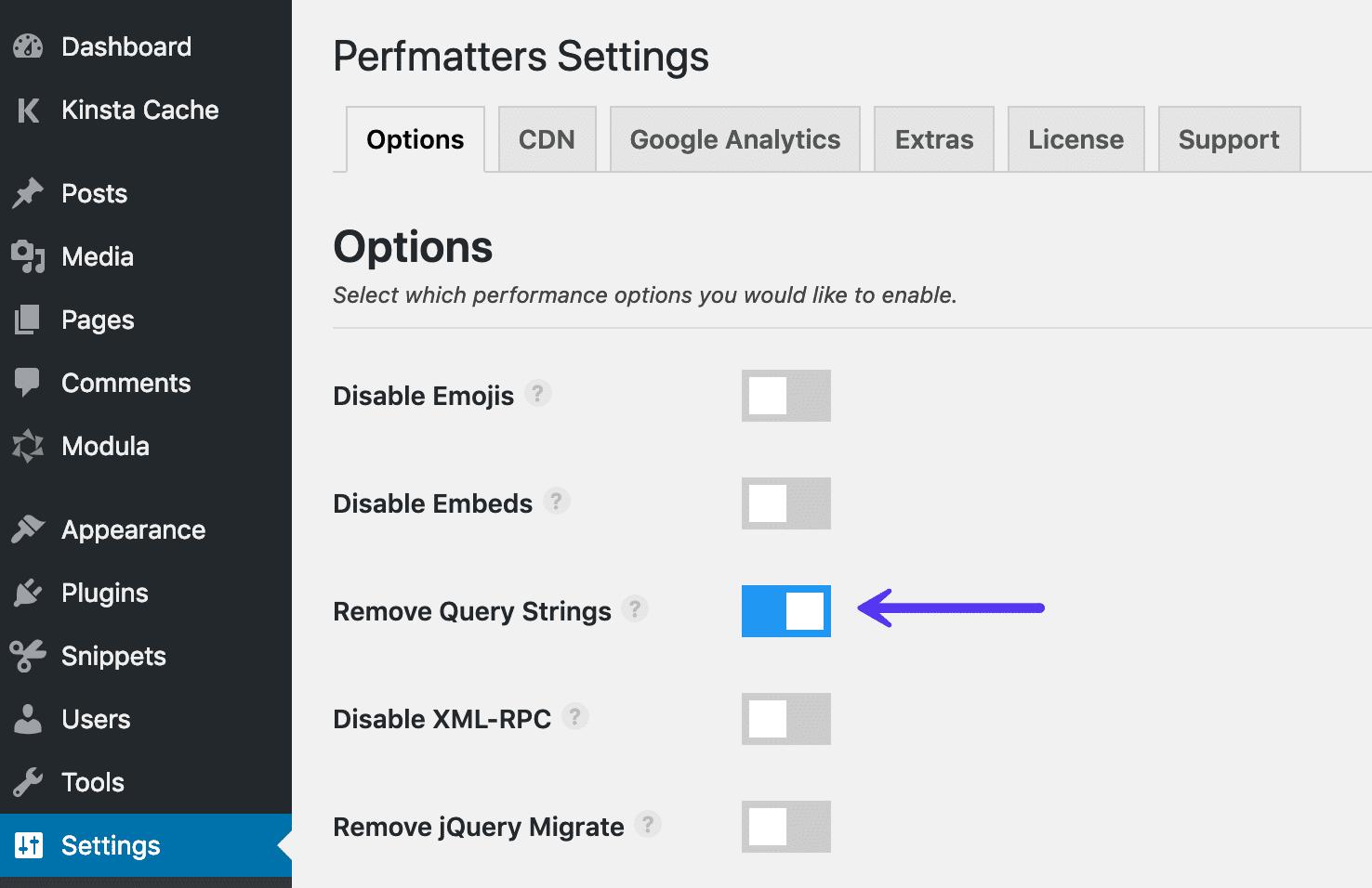 Xóa chuỗi truy vấn bằng plugin Perfmatters