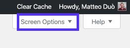 Tab Tùy chọn màn hình trong trình chỉnh sửa menu