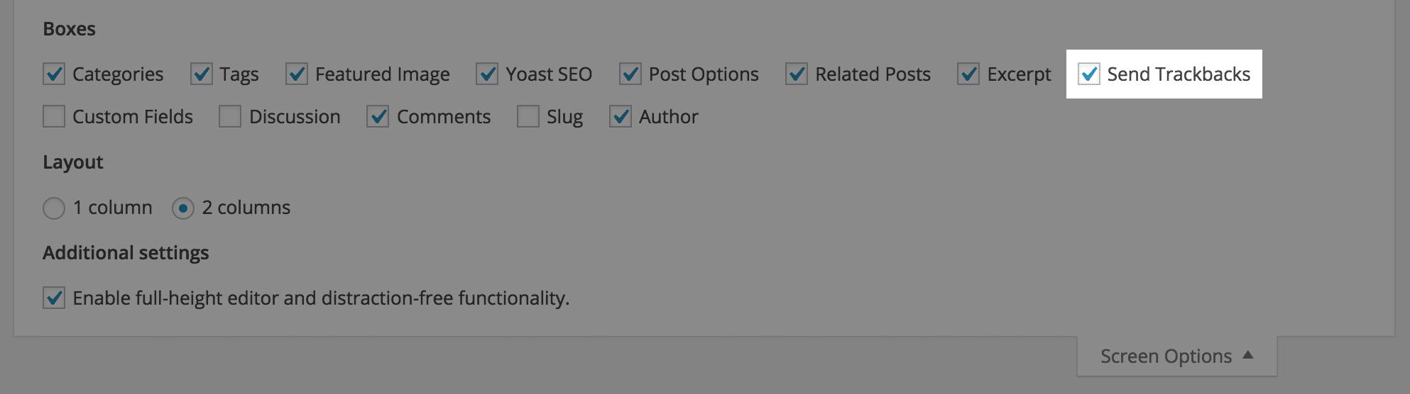 Cài đặt chế độ xem theo dõi trong phần tùy chọn màn hình WordPress