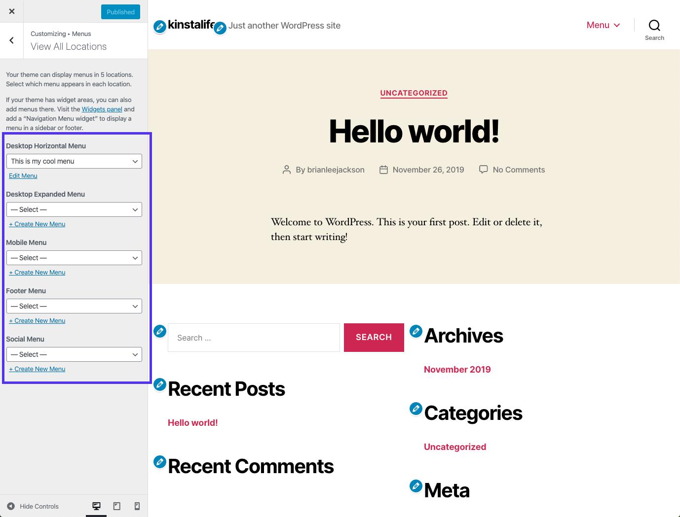 Bản xem trước trực tiếp cho menu WordPress trong Customizer