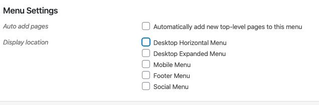 Phần Cài đặt menu trong trình chỉnh sửa
