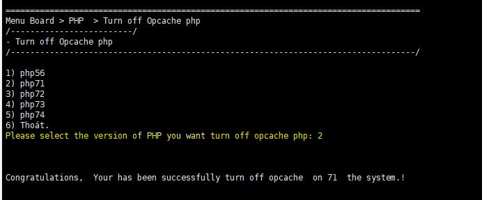 Turn off OPcache - Tắt OPcache Extension php trên TinoScript 6