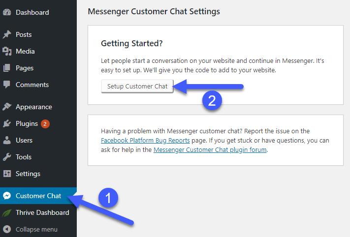 Setup Facebook Messenger Customer Chat