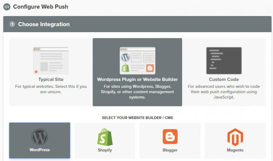 Chọn WordPress push notification