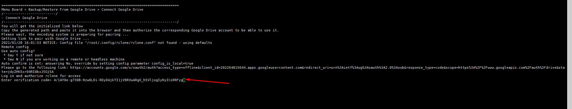 Connect Google Drive - Kết nối google drive trên TinoScript với rclone tự động backup hàng ngày cho các website. 15