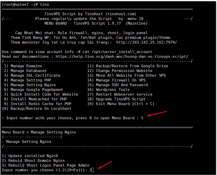 Rebuild Vhost Login Panel Page Admin – Cập nhật lại các Vhost nginx cho trang admin và core nginx 5