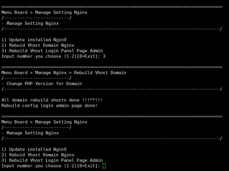 Rebuild Vhost Login Panel Page Admin – Cập nhật lại các Vhost nginx cho trang admin và core nginx 6
