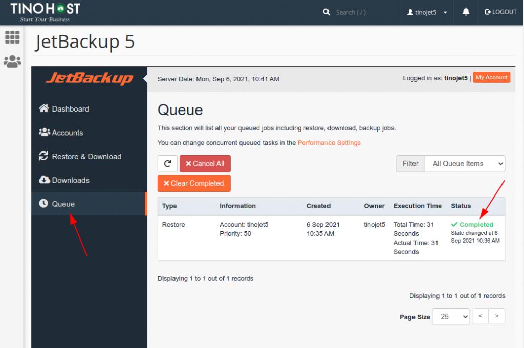 Hướng dẫn restore dữ liệu Hosting trên JetBackup 5 16
