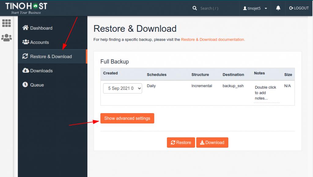 Hướng dẫn restore dữ liệu Hosting trên JetBackup 5 17